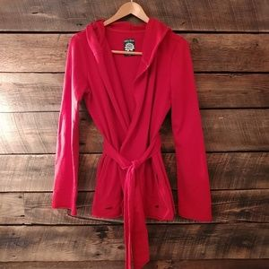 Lucky Brand red hooded distressed cardigan